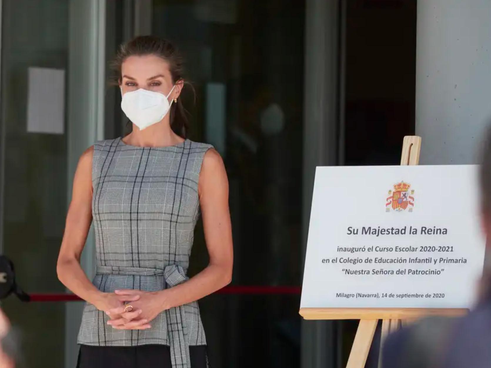 La Reina Letizia a su llegada al colegio infantil CEIP Ntra. Sra. del Patrocinio